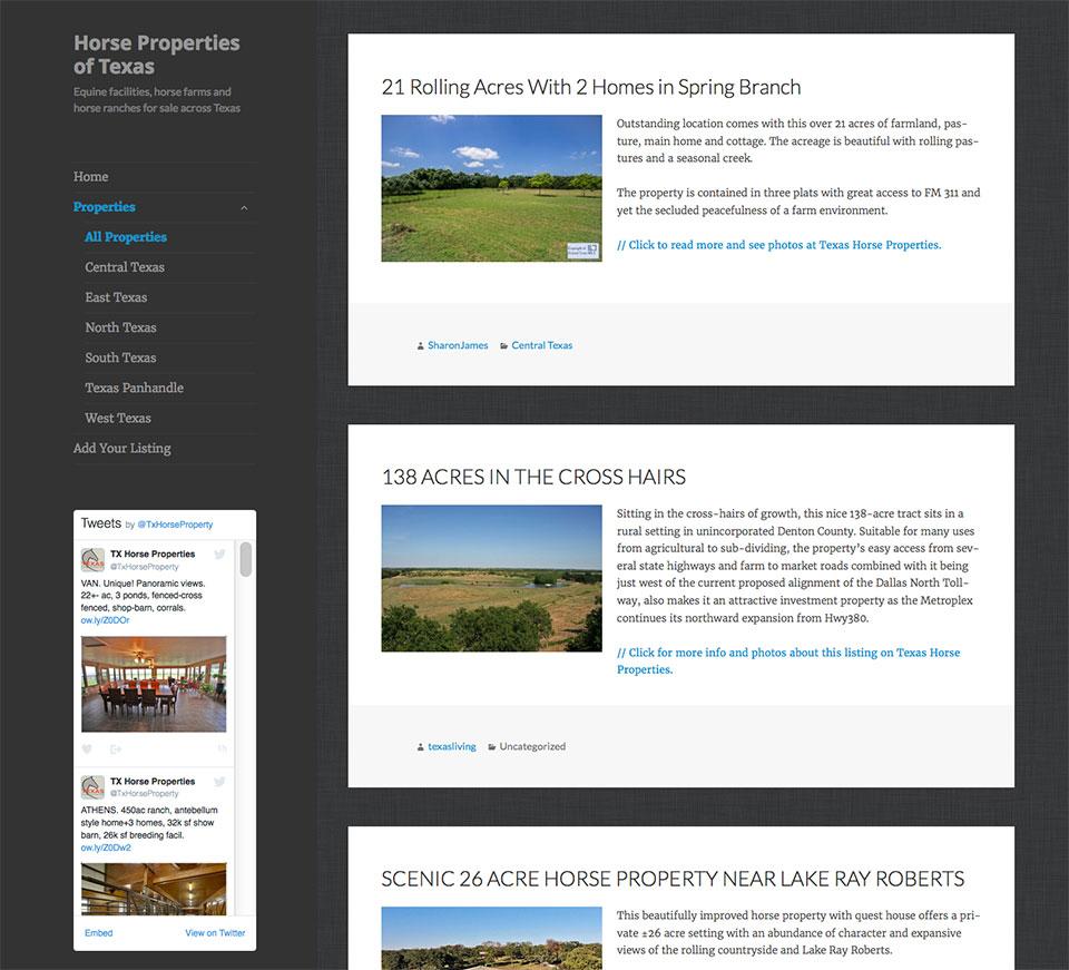 Horse Properties of Texas, RSS website